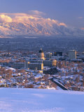 Utah State Capitol with the Wasatch Mountains  Salt Lake City  Utah