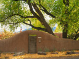 Contoured Adobe Wall  Santa Fe  New Mexico