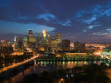 Evening Skyline Scene from St Anthony Main  Minneapolis  Minnesota