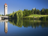 Riverfront Park with Clock Tower and Spokane River  Spokane  Washington