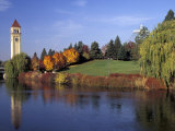 Clock Tower and Spokane River  Spokane  Washington