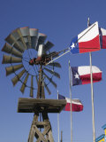 Old Water Pump and Texas State Flags  Amarillo  Texas