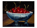 Red Cherries in a Blue Bowl