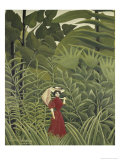 Woman with an Umbrella in an Exotic Forest