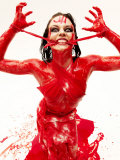 Caucasian Woman Covered in Blood