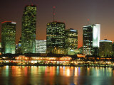City Skyline at Night  Miami  FL
