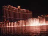 The Bellagio with Fountains at Night  Las Vegas  NV