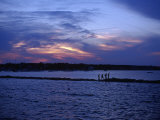 People Walking by Water at Sunset  Scituate  MA