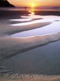 Sunset at Porth Joke with Strange Sand Pools, Cornwall, UK Papier Photo par David Clapp