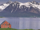 Small Farm Building with Mountains  Harstad  Norway