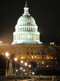 Night Shot of the United States Capitol Building and Capital Hill  USA