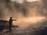 Man Fly-Fishing in Contoocook River  Henniker  NH