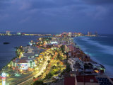 Aerial of Cancun at Night  Mexico