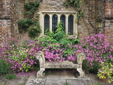 Bench  Stone Seat & Phlox on Patio  Window