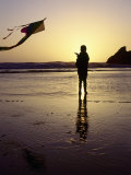 Girl Flying Kite on Beach  Cape Sebastian  OR
