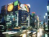 Ginza District at Night  Tokyo  Japan