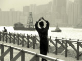 Tai Chi Practiced Along Victoria Harbor  Hk  China