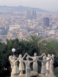 Sculpture with Barcelona in Background  Spain