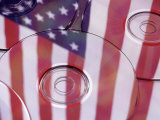 Cds with Reflection of American Flag