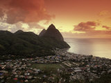 Sunset View of the Pitons and Soufriere  St Lucia