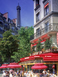 Cafe and Eiffel Tower  Paris  France