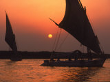 Felucca on Nile at Sunset  Cairo  Egypt