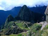 Tourists at Inca Ruins of Machu Picchu  Peru