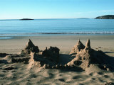Sand Castle on Beach  Maine Coast  ME