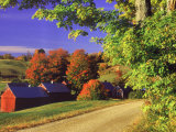 Red Barns Along Countryside  Vermont