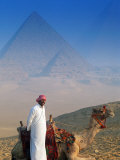 Man and Camel at Pyramids  Cairo  Egypt