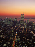 Aerial of Midtown NYC at Dusk  NY