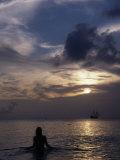 Woman Looking at Tall Ship  Cayman Islands