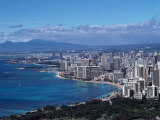 Aerial View of Oahu  Honolulu  HI