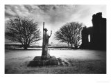 Statue of St Aiden  Lindisfarne Priory  Northumberland  England