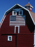 Barn with American Flag  Palouse County  WA