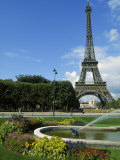 Eiffel Tower  Flowers and Fountain  Paris  France
