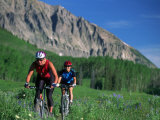 Two Women Mountain Biking  Snodgrass Mountain  CO