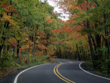 Empty Road Surrounded by Fall Foliage  Upper Mi