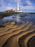 St Marys Lighthouse with Sand Patterns  Newcastle  UK