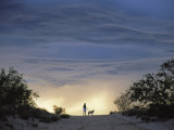Silhouette of Woman and Dog  Thunderhead  Tucson 