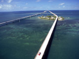 Aerial of 7 Mile Bridge  Pigeon Cay  Florida Keys