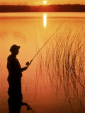 Silhouette of Man Fishing  Vilas City  WI