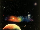 Space Illustration of Stars and Planets