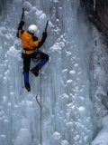 Man Ice Climbing at Ouray Ice Park  CO