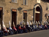 Scooters Lined Up Along Street  Florence  Italy