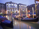 Gondolas at Night  Venice  Italy