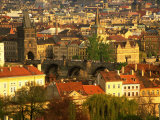 Town and Charles Bridge  Prague  Czech Republic