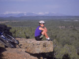 Woman Mountain Biking  Sitting