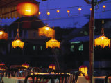 Seafood Restaurant with Lit Lanterns  Vietnam