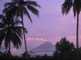 Active Volcano  Merapi from Borobodur  Indonesia